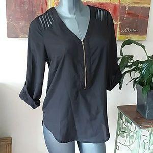 DANIEL RAINN sliced cut out black blouse